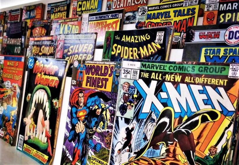 Comics on display at Vintage Phoenix Comic Books
