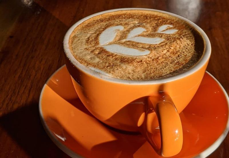 Latte art from Needmore Coffee