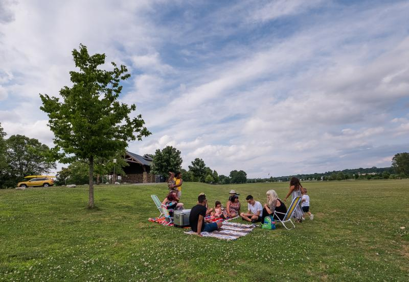 group of people having a picnic in a park