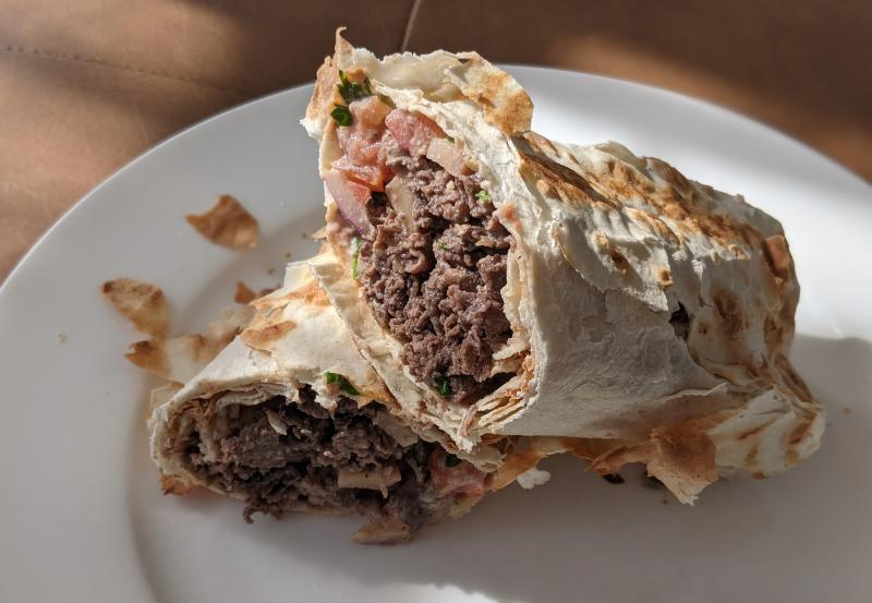 Lamb shawarma from Daddy's Place is wrapped in a flaky flatbread