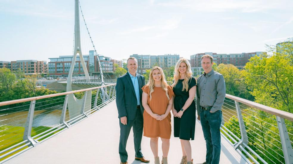 Visit Dublin Ohio Staff on the Dublin Link Pedestrian Bridge