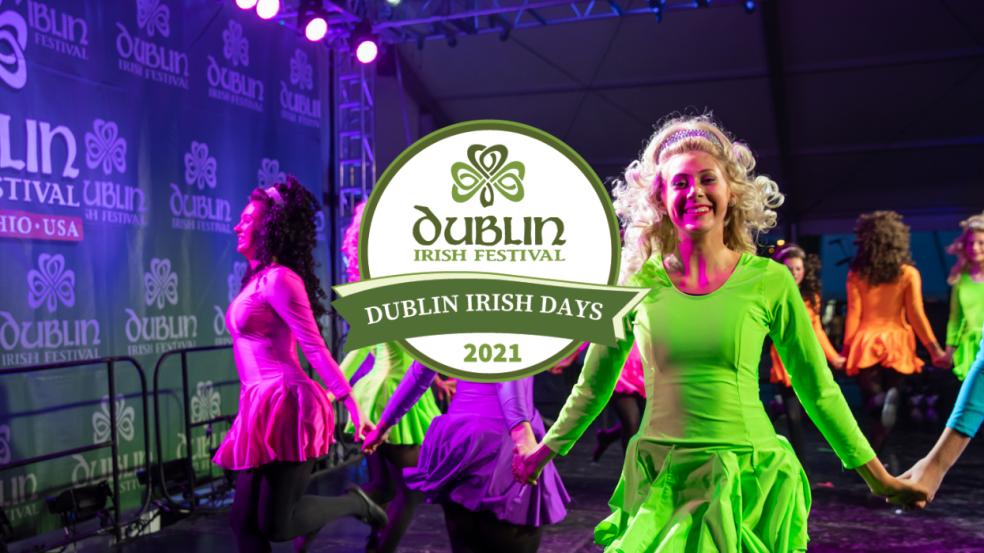 Irish dancers in colorful dresses with the Dublin Irish Days logo