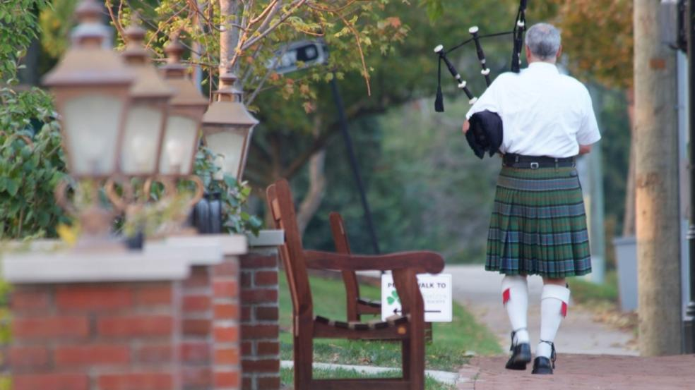 Bagpiper walking the streets of Historic Dublin, Ohio.