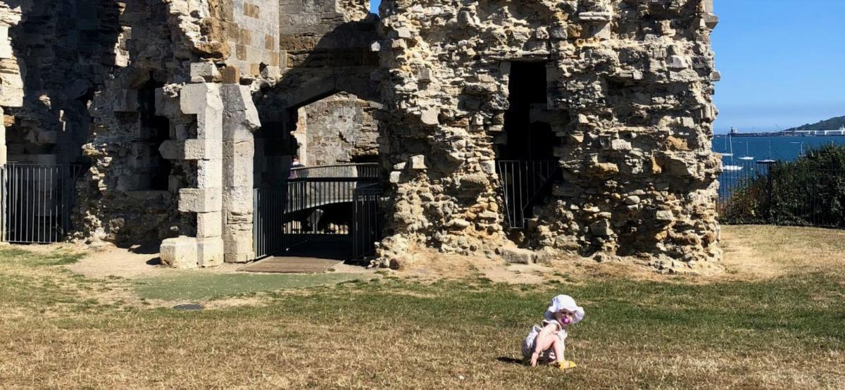 Little girl at Sandsfoot Castle in Weymouth, Dorset