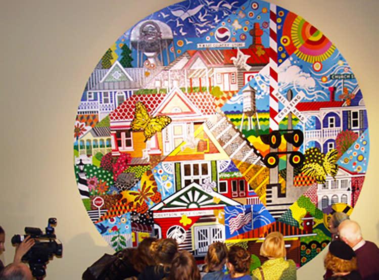 Circular mural with Clayton themes