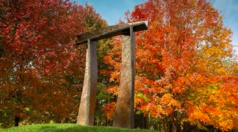 Grounds for Sculpture archway in the fall