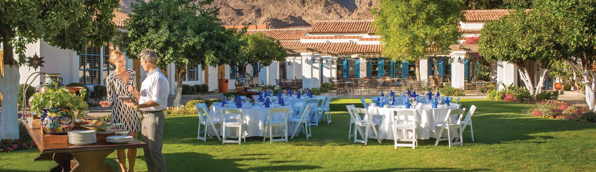 Event set up on the lawn La Quinta Resort