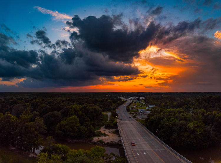 Sunset over Downtown Smithfield, Neuse River, Highway 70