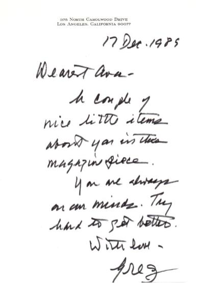 Letter from Gregory Peck to Ava Gardner