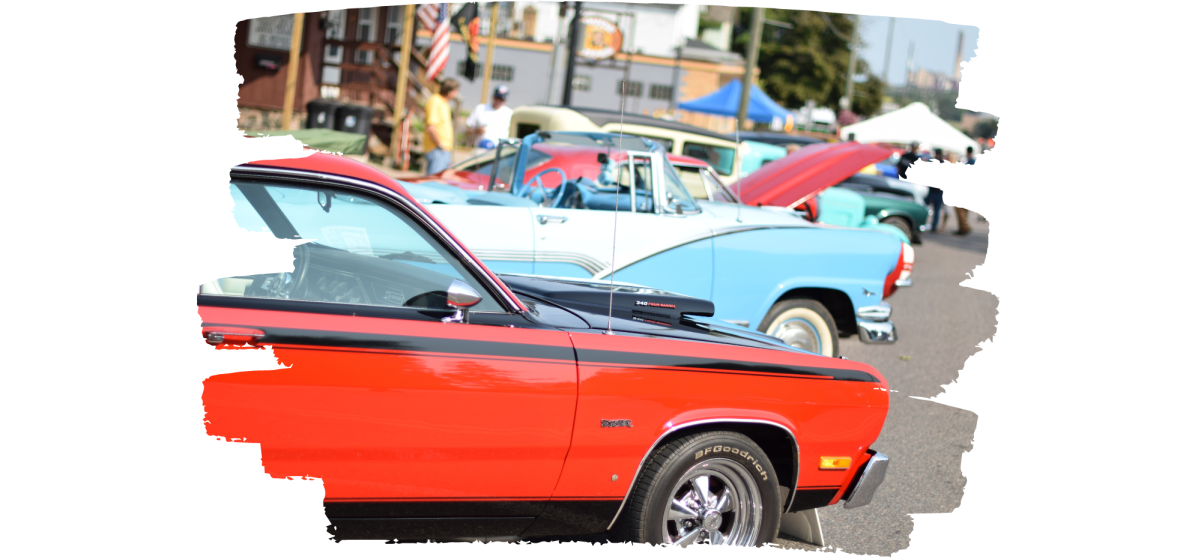 Classic cars lined up on Third St. for Classic Cars on Third event