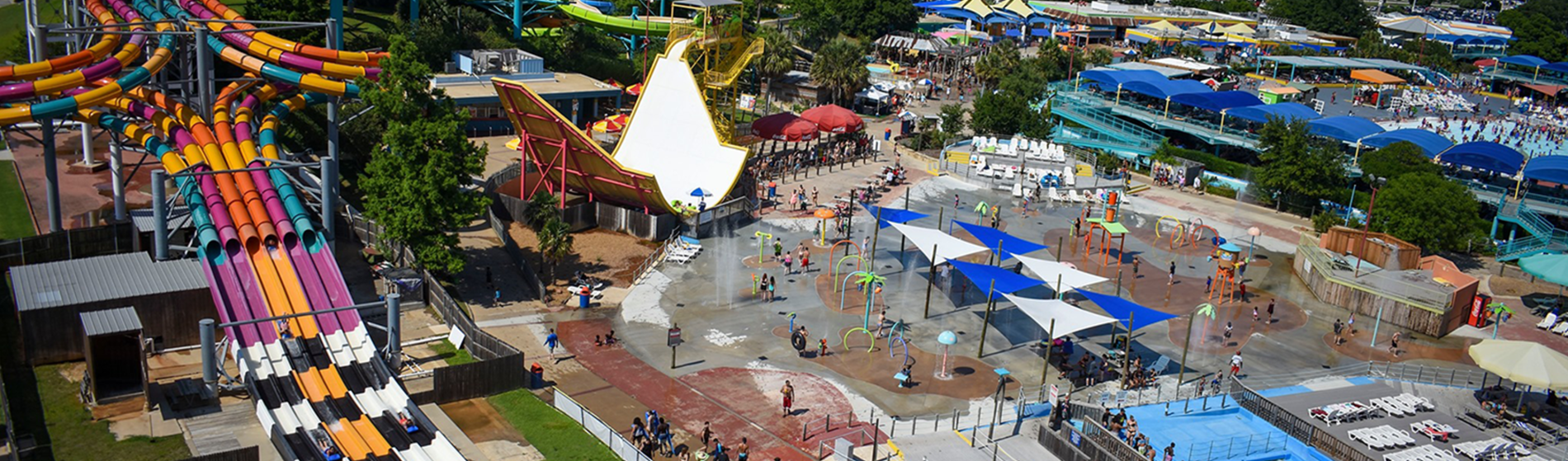 Hurricane Harbor aerial photo of water park