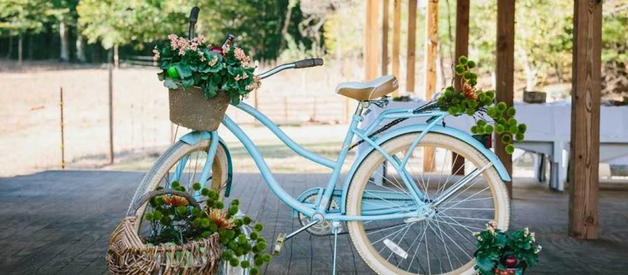 A blue bicycle is loaded up with flowers from Rutherford County area farms.}