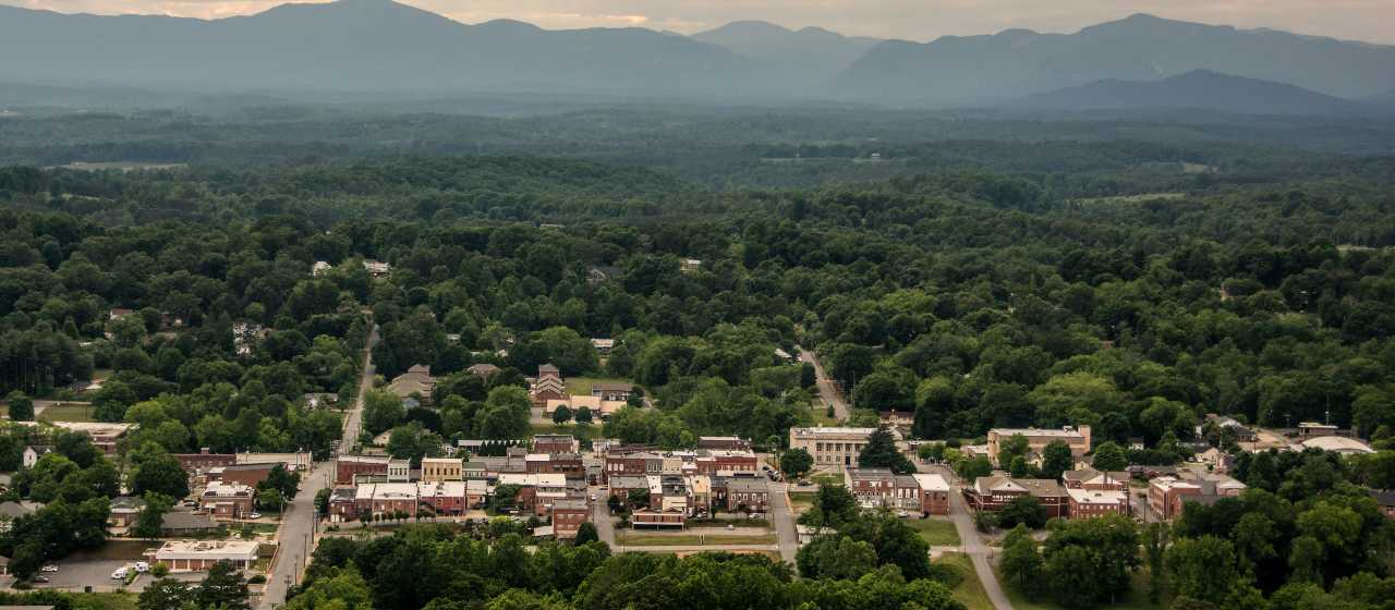 Overlooking the historic town of Rutherfordton, North Carolina.}