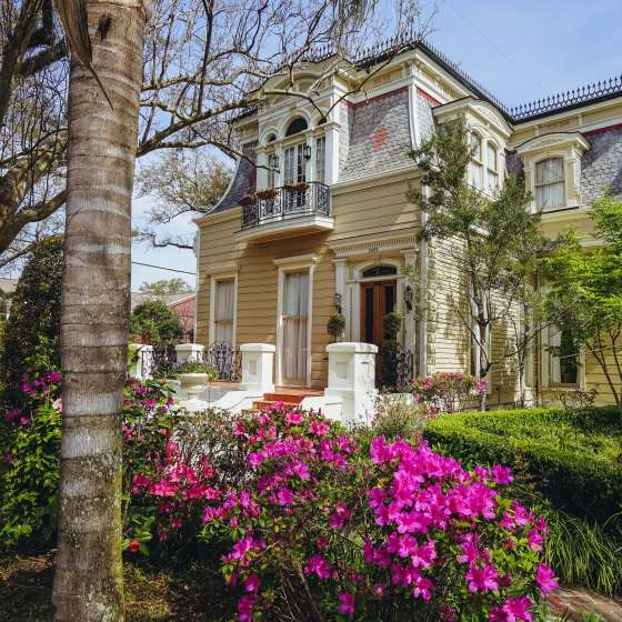 Esplanade Ave y North Dorgenois - Arquitectura en primavera - Azaleas