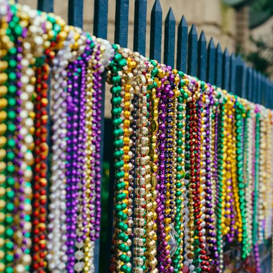 Cerca com colares de Mardi Gras - Garden District