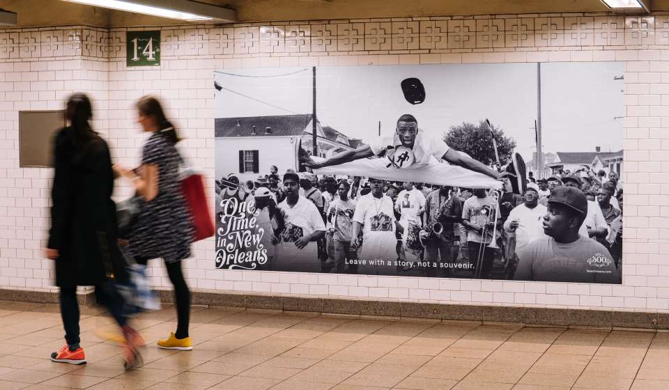 New Orleans' Black and White Tourism Ad in NYC's Union Station