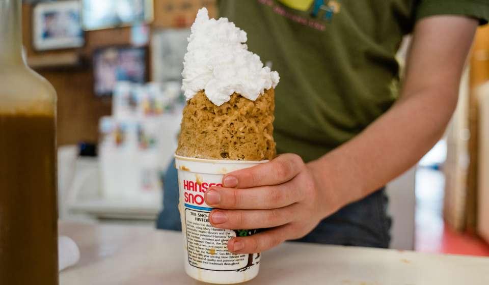 Cream of Coffee with Whipped Cream - Hansen's Sno-Bliz