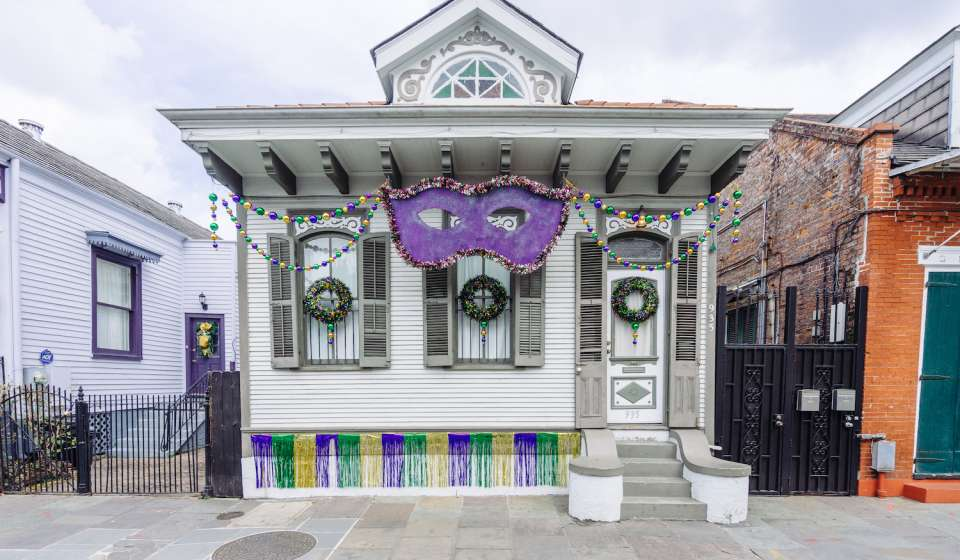 St. Ann Street home decorated for Mardi Gras