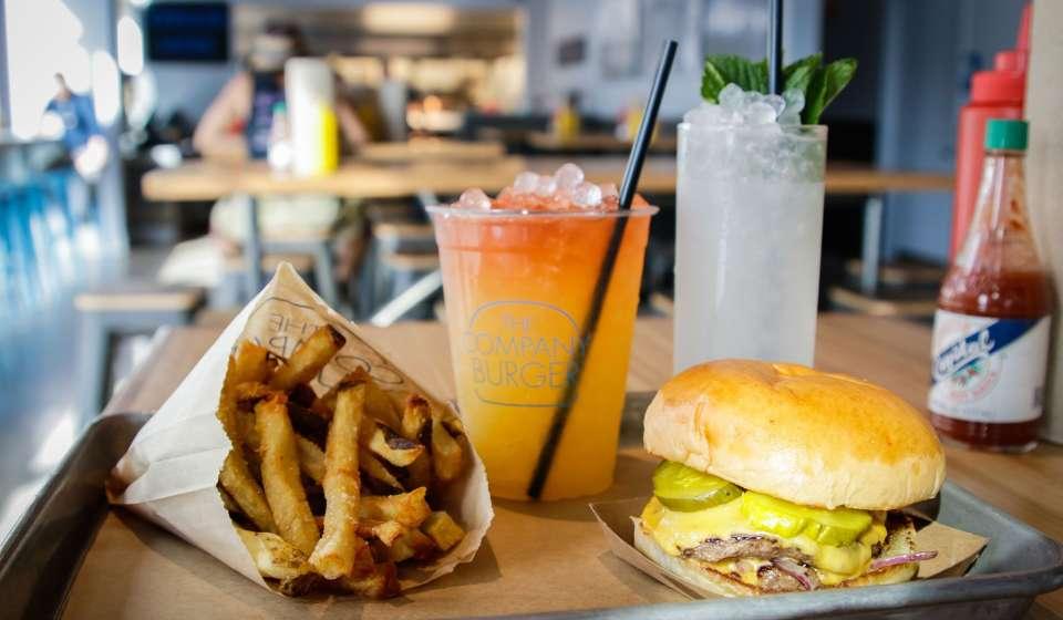 Cheeseburger, Fries and a Drink at Company Burger Downtown