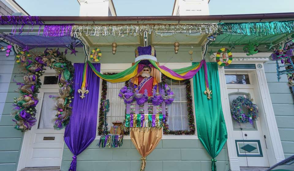 Royal Street at St. Philip Street Creole Cottage - Mardi Gras 2016