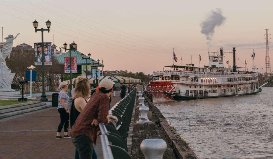 Steamer Natchez from Woldenberg Park - Mississippi River