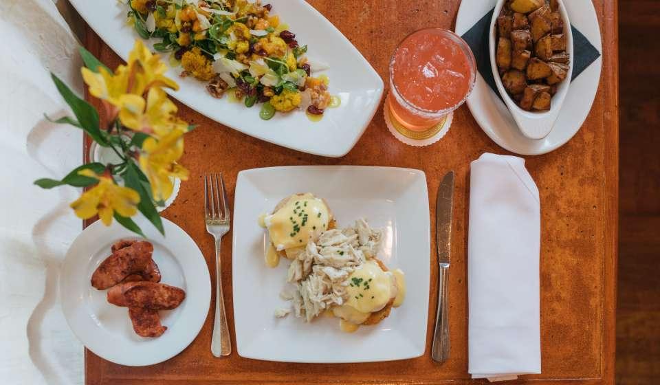 Eggs Atchafalaya, Cauliflower Salad, Andouille Sausage, Potatoes, Stars & Garters (tequila blanco, mezcal, pamplemousse liqueur) - Atchafalaya