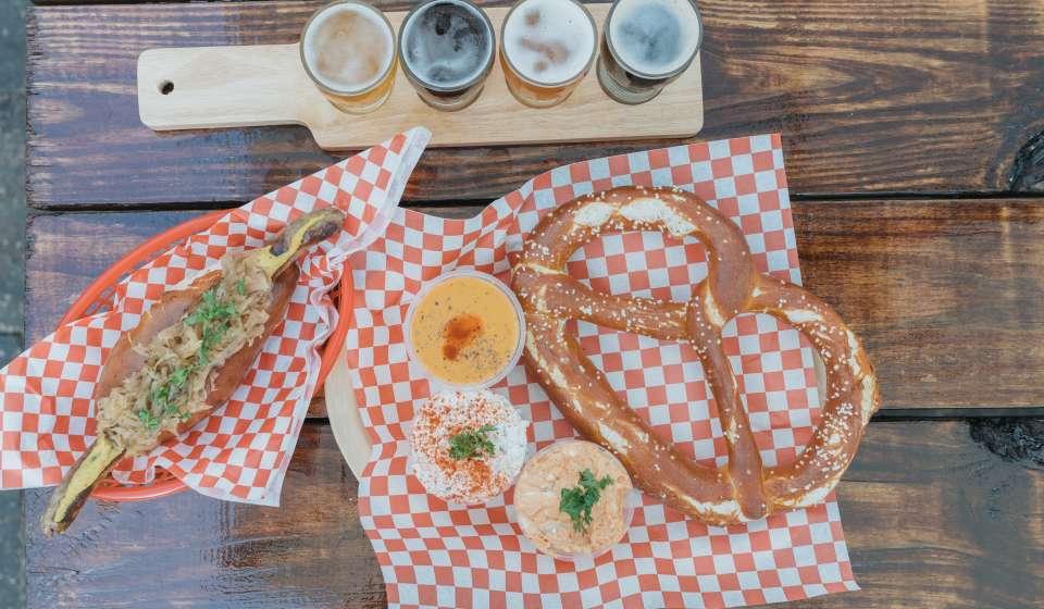 Nürnberger Bratwurst, Pretzel, Beer Flight - Bratz Y'all