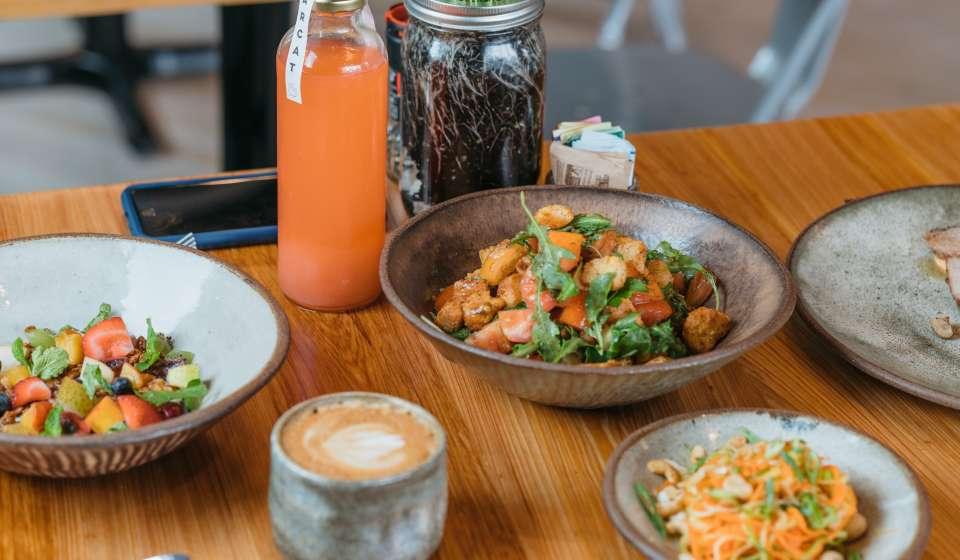 Acai Bowl, Rainbow Squash Noodle Salad, Panzanella Salad, Pork Tenderloin - Bearcat Cafe