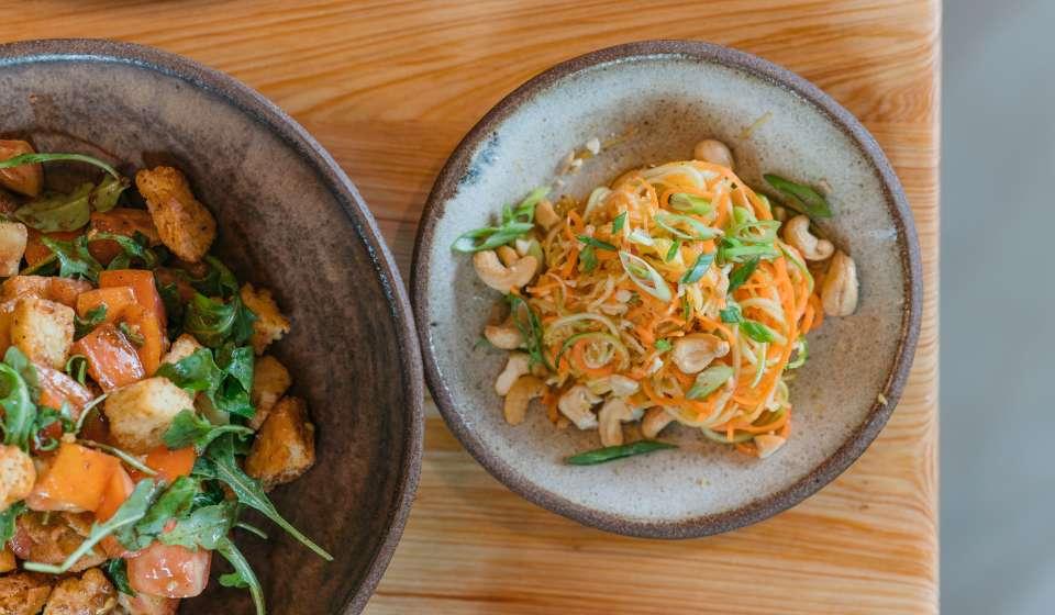 Rainbow Squash Noodle Salad, Panzanella Salad- Bearcat Cafe