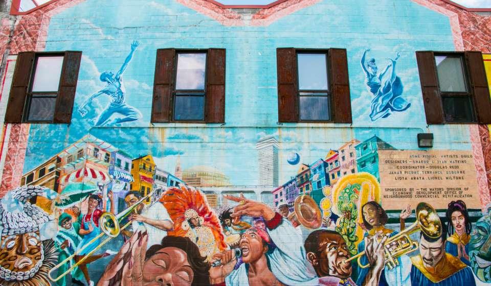 A mural on Oretha Castle Haley Boulevard
