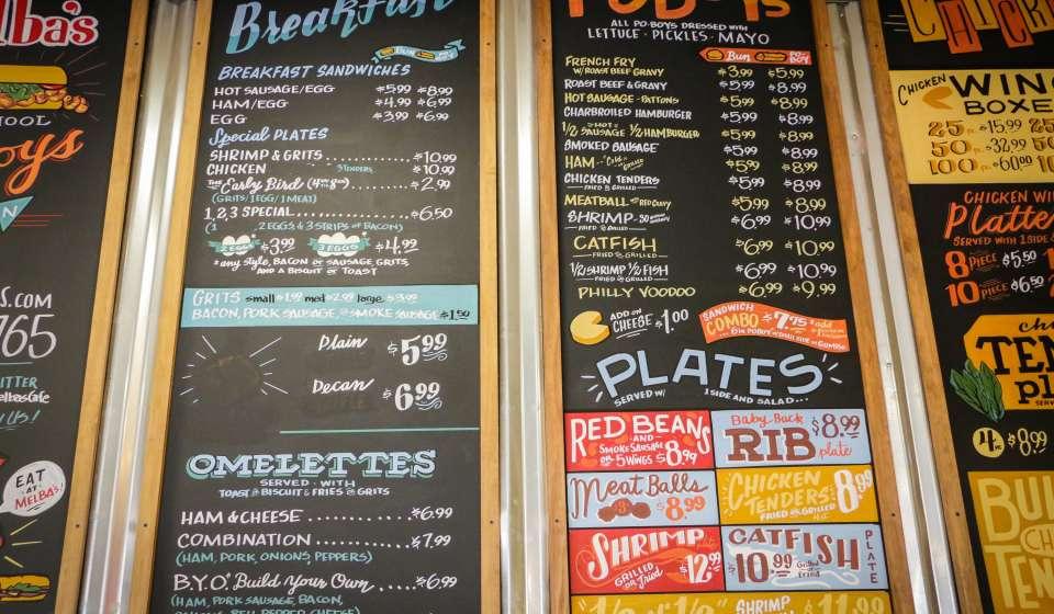 The menu at Melba's