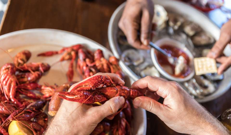 Peeling Crawfish at Frankie and Johnny's