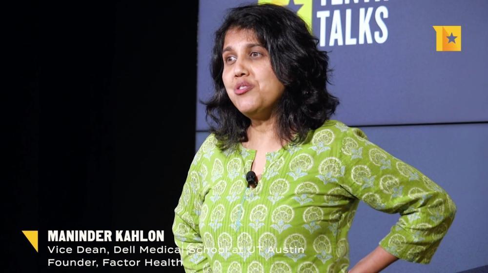 Maninder Kahlon of Dell Medical School speaking at Texas Tribune Talks