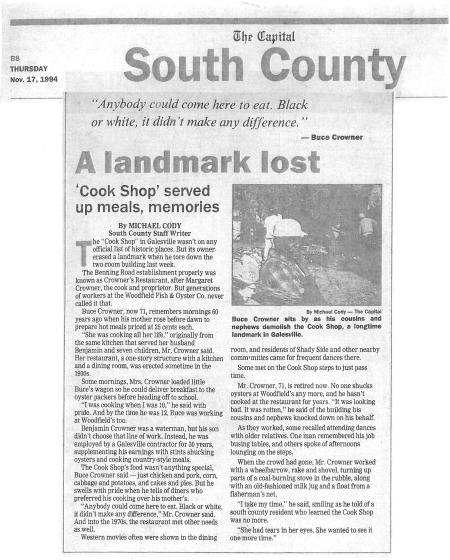 Capital Gazette clipping from the day the Cook Shop was demolished.