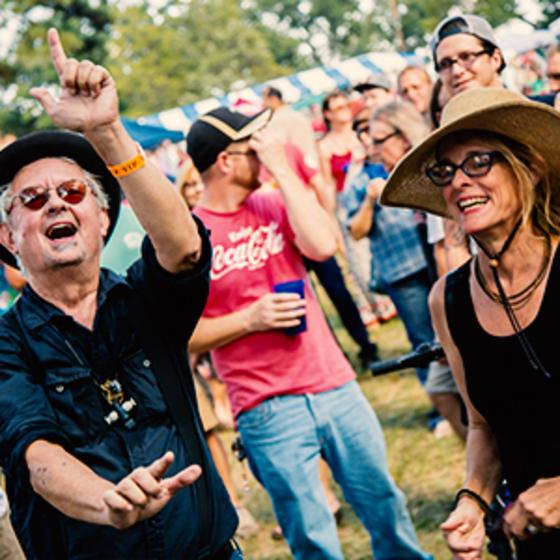 Group of revelers enjoying Shreveport's Highland Jazz and Blues Festival