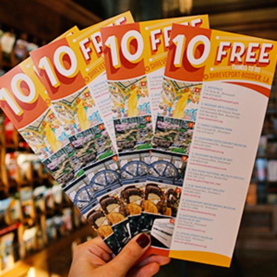 rack cards 10 Free Things to Do in Shreveport-Bossier