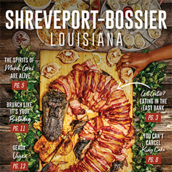 cover of Shreveport-Bossier Travel Magazine Culinary Issue featuring grilled gator