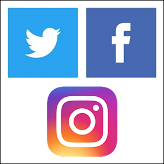 Facebook, Twitter, Instagram icons