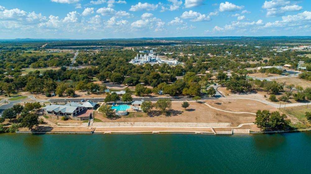 Lakeside Park aerial view in Marble Falls Texas