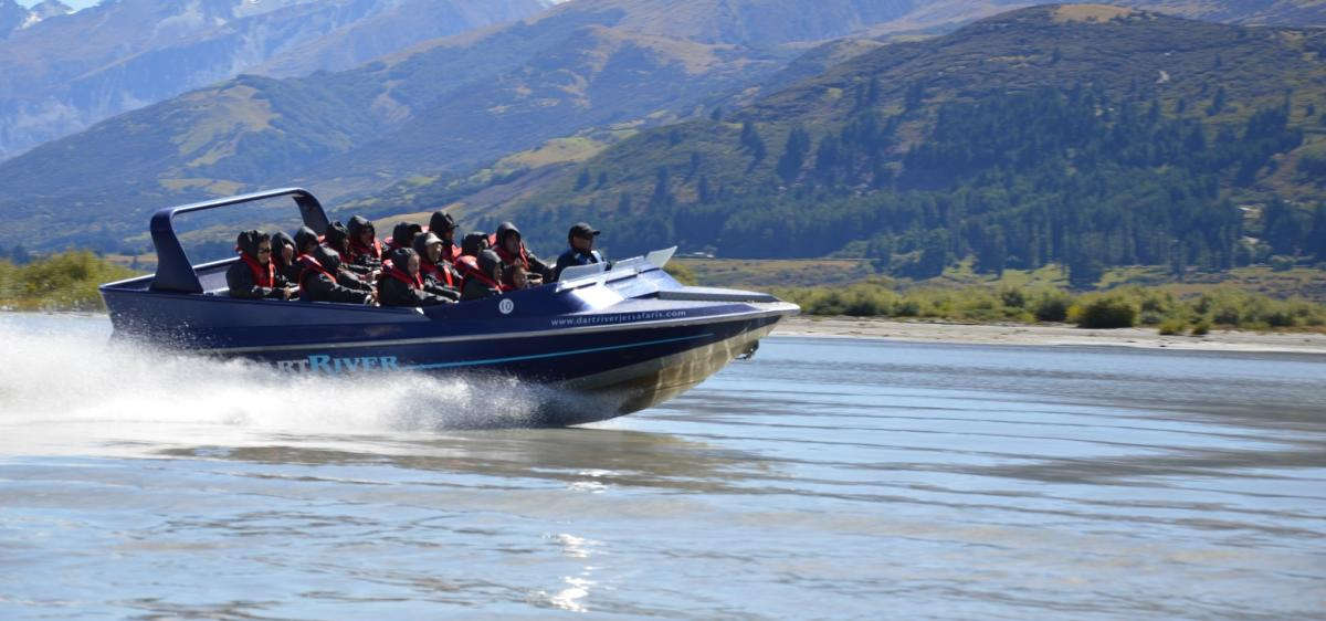 Experience a thrilling jet boat ride on the Dart River