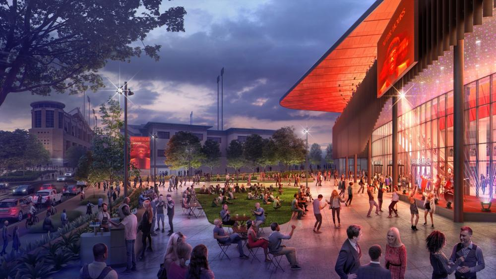 Artistic rendering of an event on the plaza at the Moody Center