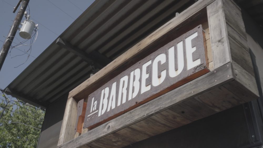 sign for la Barbecue in Austin Texas