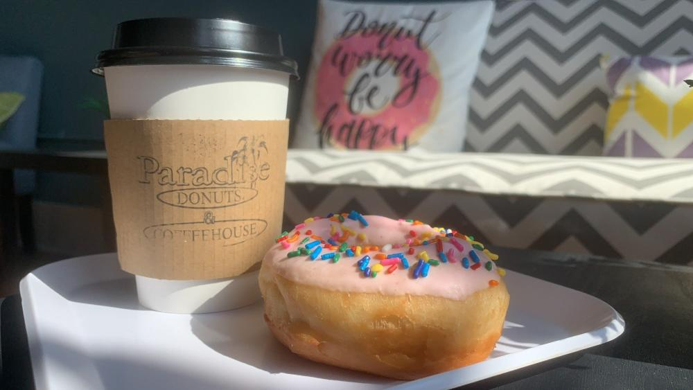 Coffee and a Donut at Paradise Donuts