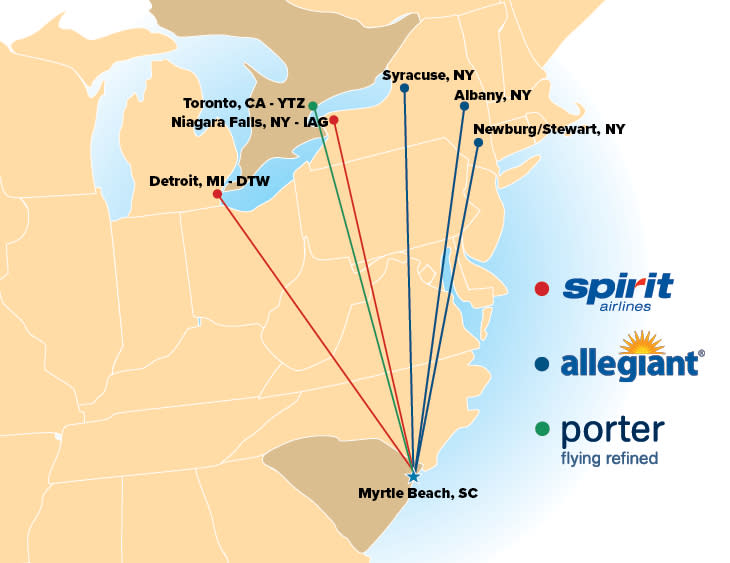 Flights to Myrtle Beach From Canada map includes Porter, Allegiant and Spirit