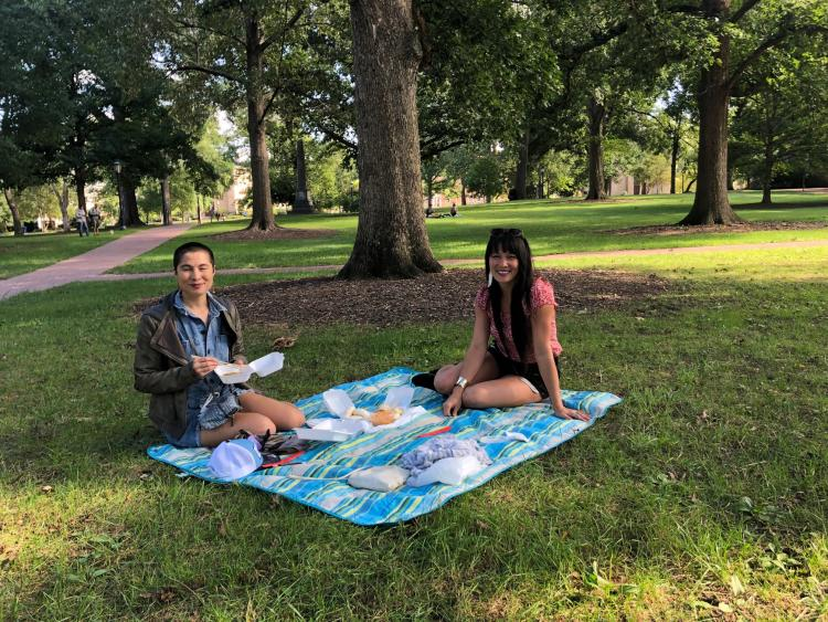 Maylin and Chela Picnicking on the Quad - UNC Campus
