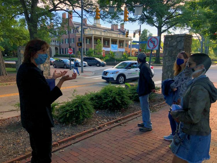 Maylin participating in the Free Chapel Hill Walking Tour