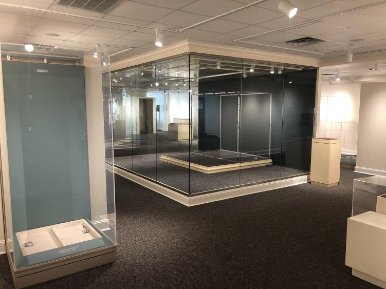 Ava Gardner Museum with empty exhibit cases during the remodel