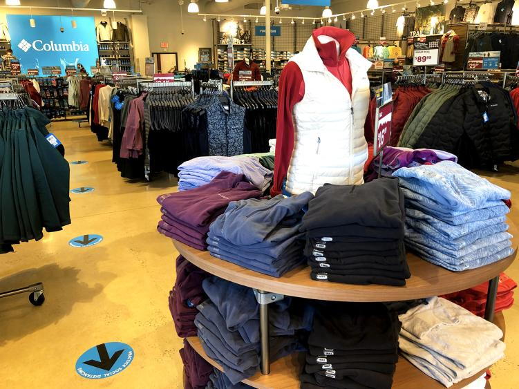 A display of sweater vests at the Columbia outlet in Smithfield, NC