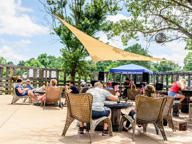 Double Barley Brewing beer garden as place to gather in Smithfield, NC.