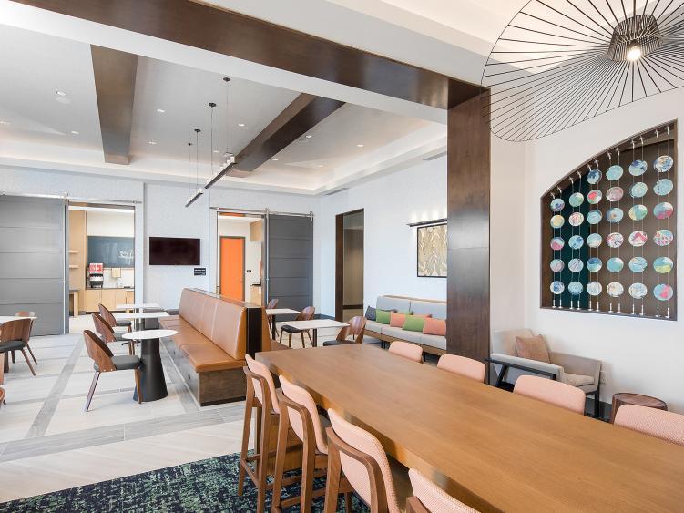Modern Lobby with wood tones in new Smithfield Hampton Inn